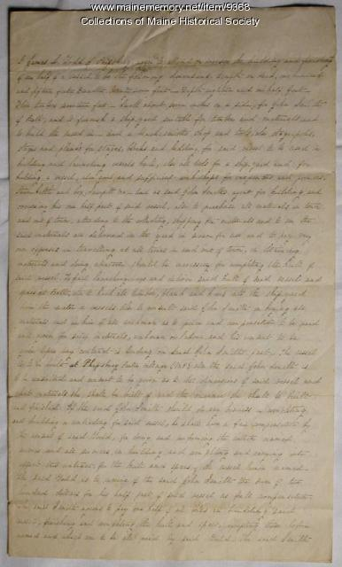 Ship building agreement, Phippsburg, 1847
