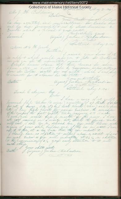 Copy of a letter, May 8, 1841, Joshua Richardson to David Magoun