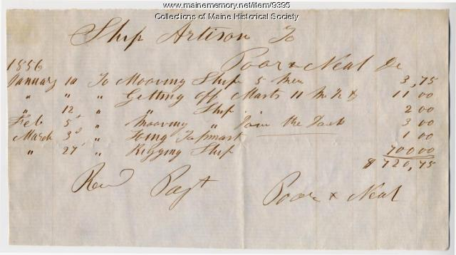Receipt for costs to fit the ship Artisan, 1856