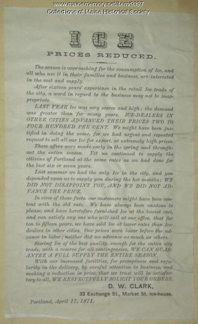 D.W. Clark & Company advertisement, 1871