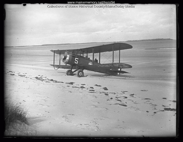 Biplane, Old Orchard Beach, ca. 1923