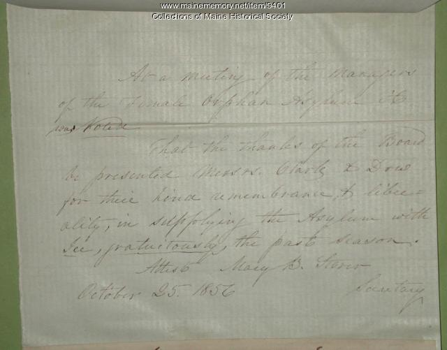 Letter of thanks from Female Orphan Asylum, Portland, 1856