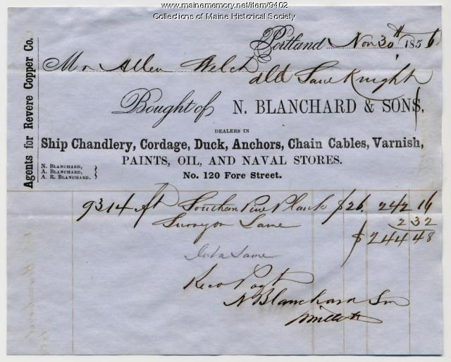 Receipt for lumber, 1856