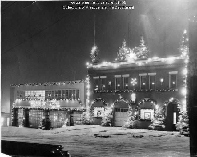 Christmas decorations, Presque Isle, ca. 1950