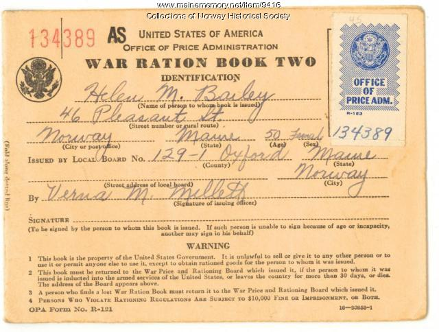 Ration book for Helen M. Bailey, Norway, ca. 1943