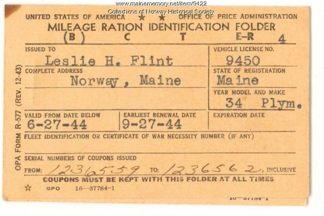 Mileage ration folder, Norway, ca. 1943