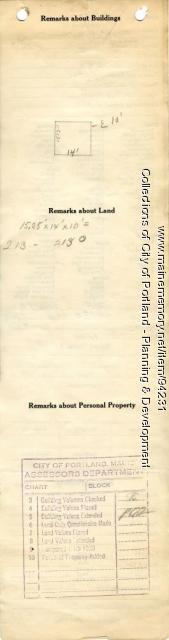 Assessor's Record, 70-74 Winslow Street, Portland, 1924
