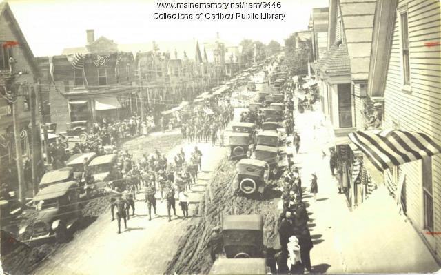 Parade down Sweden Street, Caribou, ca. 1918