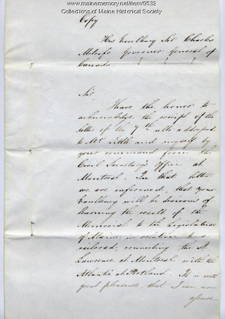 Copy of William Pitt Preble letter to Sir Charles Metcafe, 1845