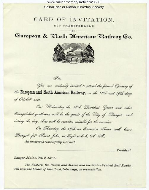 Invitation to railway opening, Bangor, 1871