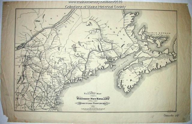 Railroad map of northern New England and the Maritime Provinces, 1882