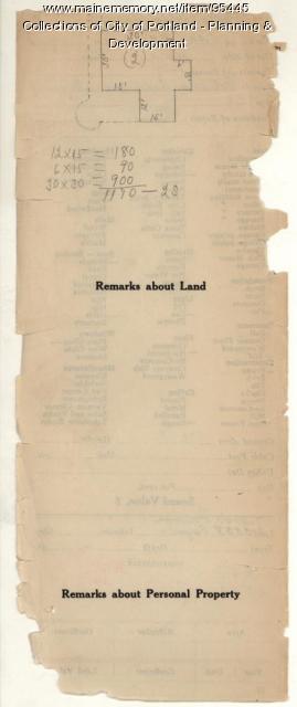 Assessor's Record, Jewett property, Lots 7 & 8, Peaks Island, Portland, 1924