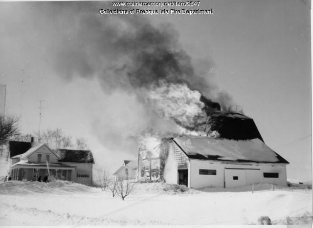 Barn fire, Presque Isle, 1961