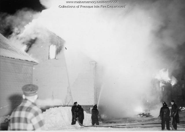 Potato house fire, Presque Isle, 1960