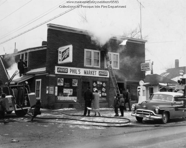 Fire at Phil's Market, Presque Isle, 1959