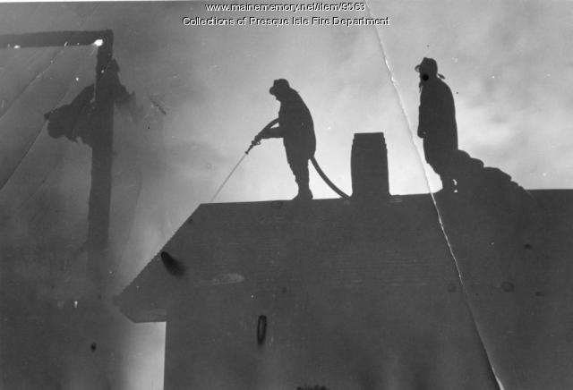 Woodworth Barn fire, Presque Isle, ca. 1960
