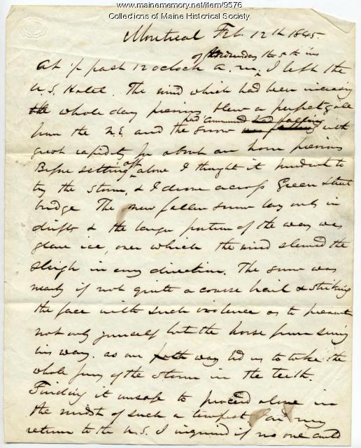 John Poor account of trip to Montreal, 1845