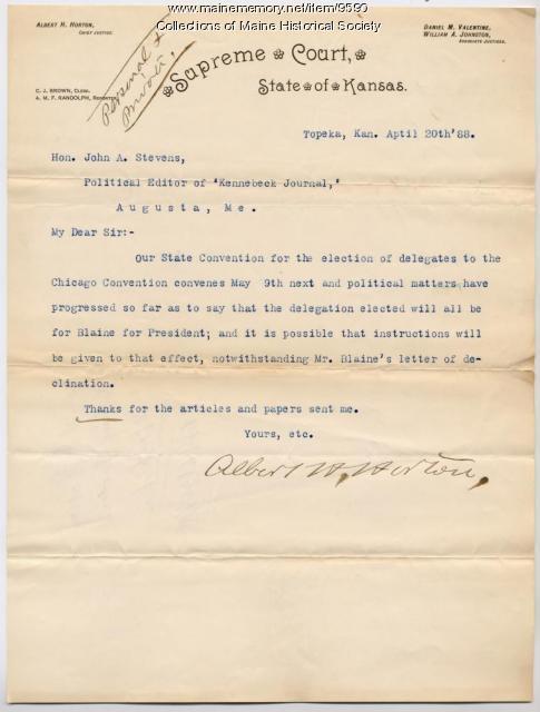 Letter to John L. Stevens on Blaine nomination, 1888