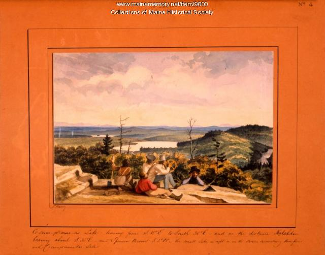 Cocumgomucsis Lake view to Katahdin, Talcott Survey, 1841