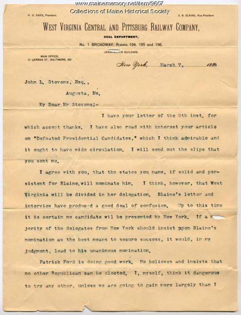 Letter from S.B. Elkins to John L. Stevens, 1888