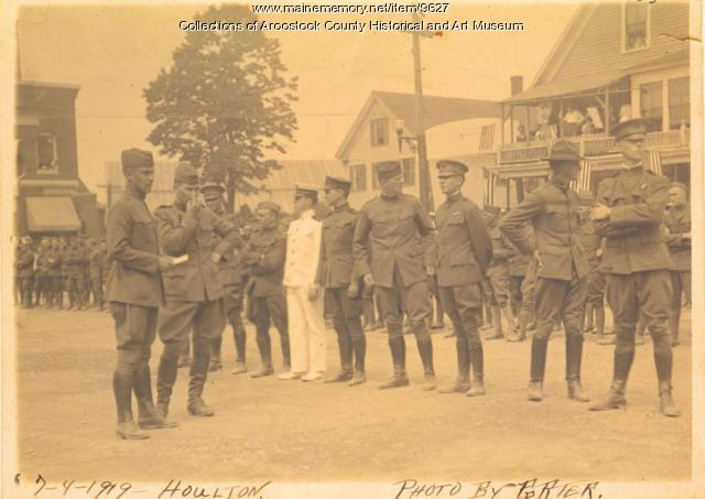 Soldiers at WWI victory celebration, Houlton, July 4, 1919