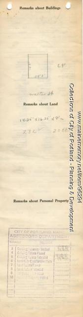 Assessor's Record, 73 Walton Street, Portland, 1924