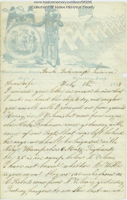 Pvt. Eben Calderwood to wife, Louisiana, 1863