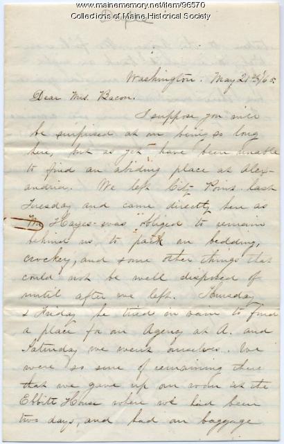 Mary Dupee letter to Ellen Bacon, Washington, D.C., 1865