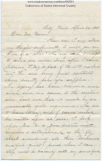 Nurse M.E. Dupree on soldiers' needs, City Point, VA, 1865