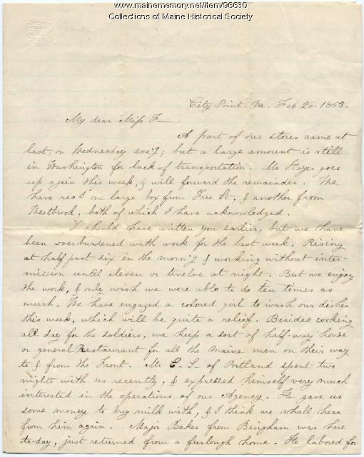 Ruth Mayhew report on supplies, City Point, VA, 1865