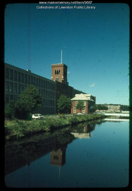 Canal and Bates Mill from Wiseman Bridge, Lewiston, ca. 1980