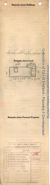 Assessor's Record, 13-21 Vernon Place, Portland, 1924