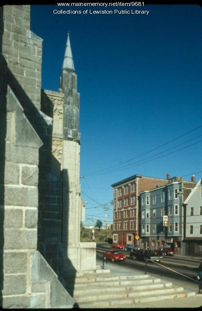 Corner Detail of St. Mary's Parish, Lewiston, ca. 1970