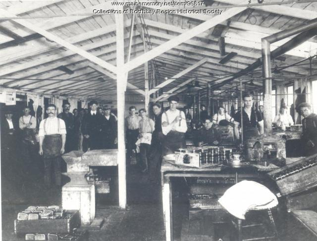 Sardine packing plant interior, Boothbay Harbor, ca. 1890