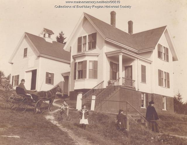 Francis Greene home and barn on Oak Street in Boothbay Harbor, ca. 1895