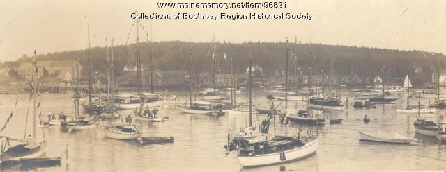 Yachts at anchor in Boothbay Harbor, ca. 1910