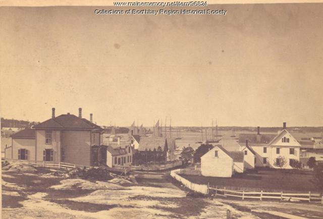 View down School Street to Boothbay Harbor, ca. 1880s