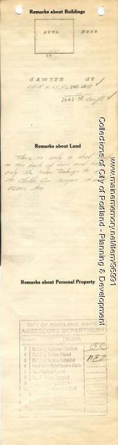 Assessor's Record, 12 Sawyer Street (rear), Portland, 1924