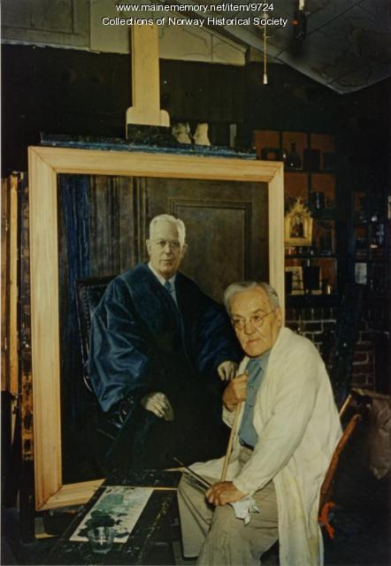 Vivian Akers at his easel, 1959