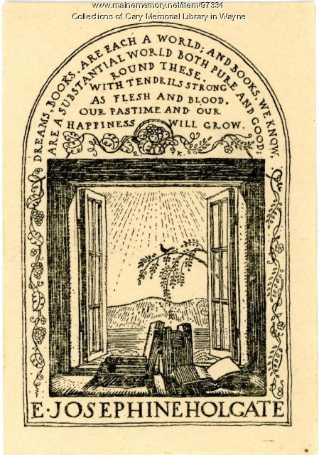 E. Josephine Holgate bookplate, 1923