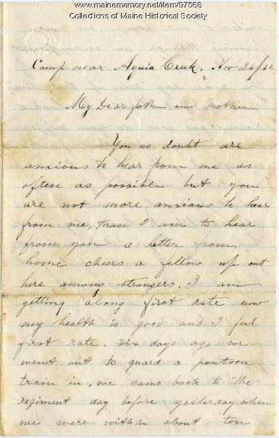 Pvt. John Sheahan on importance of letters, Virginia, 1862
