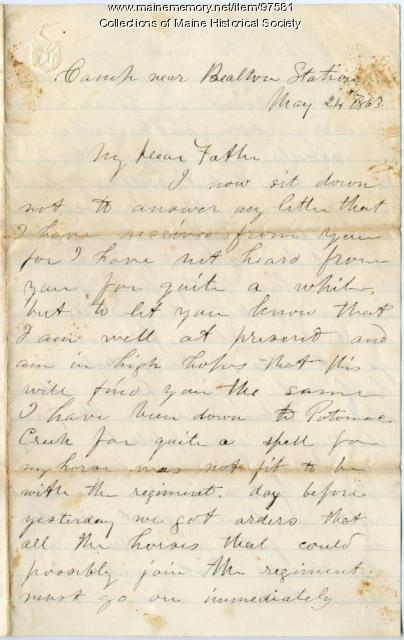 Pvt. John Sheahan letter on picket duty, Virginia, 1863