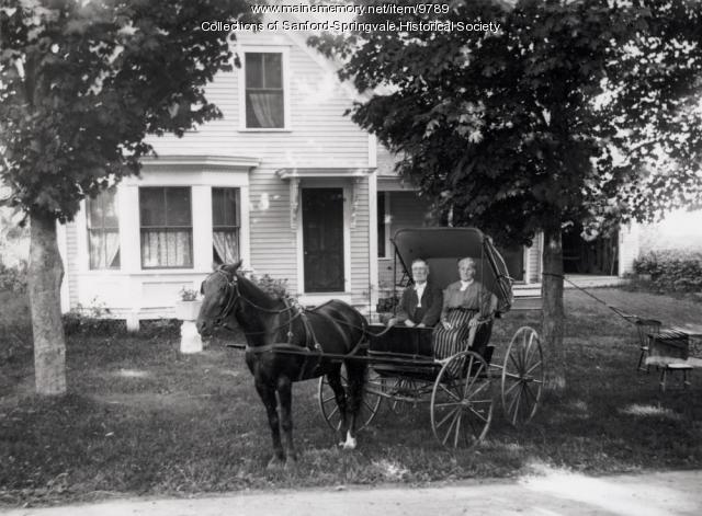 Horse and Buggy with Man and Lady