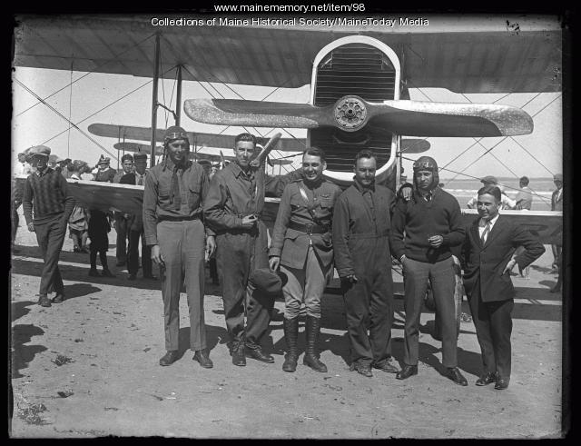 Biplane and pilots, Old Orchard Beach, ca. 1925