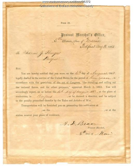 Thomas J. Burgess, draft notice, Belfast, 1863