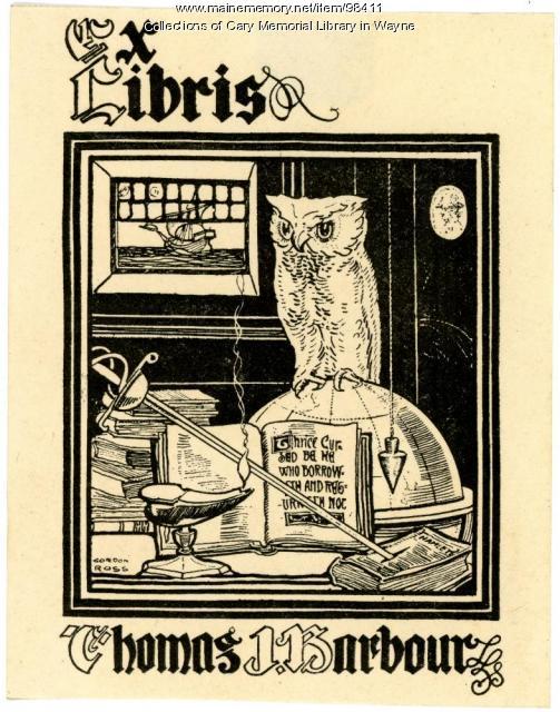 Thomas J. Barbour bookplate, ca. 1925