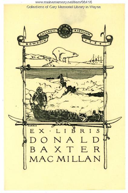 Donald Baxter MacMillan bookplate, ca. 1925