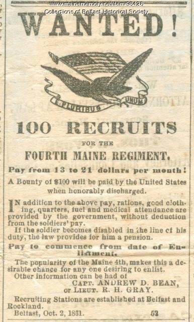 Recruitment Ad, Belfast, 1861