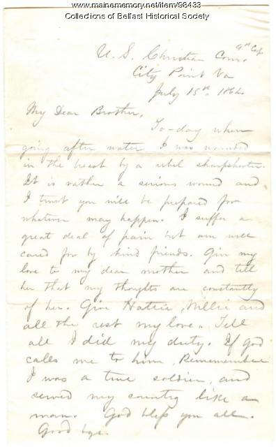 William A. Burgess letter to his brother Albert, Belfast, 1864