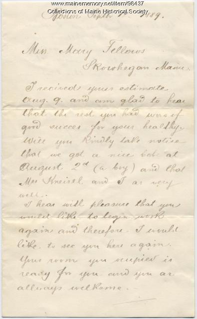 Franz Kneisel letter to Mary Elise Fellows, Boston, 1889
